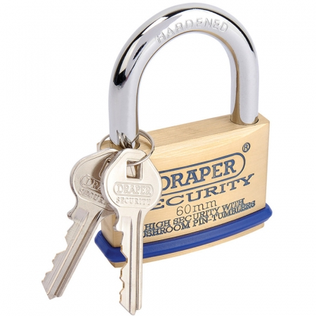 60MM SOLID BRASS PADLOCK AND 2 KEYS WITH MUSHROOM PIN TUMBLERS HARDENED STEEL SHACKLE AND BUMPER